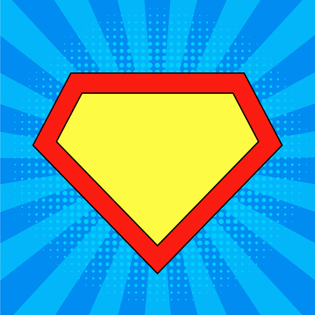 hero template at bright blue, pop art background.