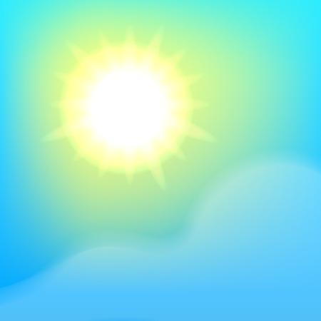 Bright sun, blue sky and cloud.