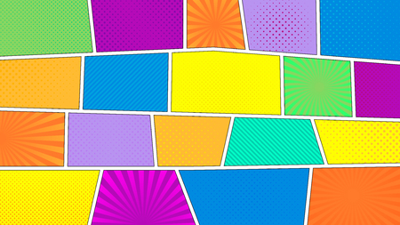 16 9: Comic strip background with 16 9 aspect ratio. Different colorful panels. Rays, lines, dots.