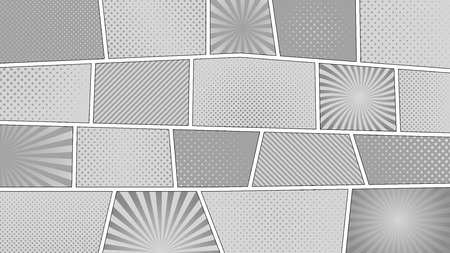 gray strip backdrop: Comic strip monochrome background with 16 9 aspect ratio. Different colorful panels. Rays, lines, dots.