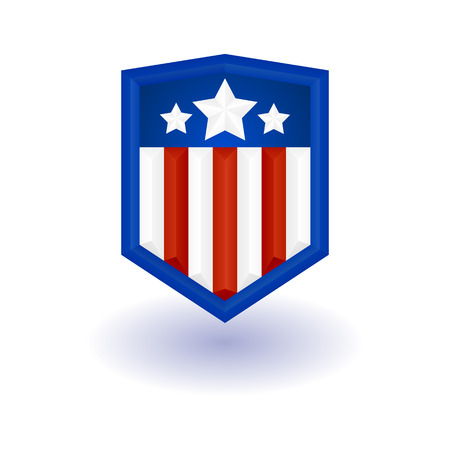 national hero: hero template. Shield with stars and stripes.