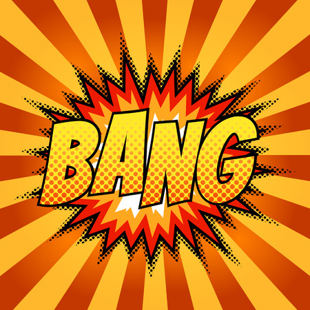 bang: Bright comic background. Bang bubble.
