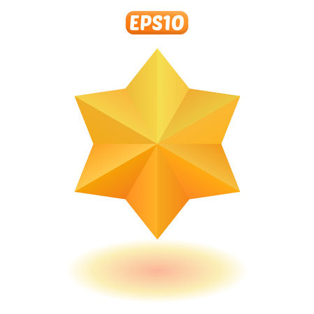 Shiny gold six-pointed star with shadow.
