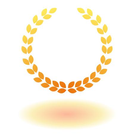 achievment: Golden laurel wreath flat icon with shadow.
