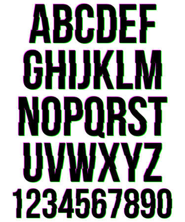numbers: Glitched alphabet and numbers.