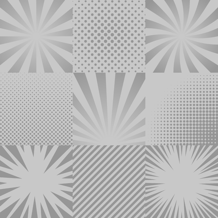 Collection of nine monochrome comic, pop art backgrounds. Rays, halftones, stripes.
