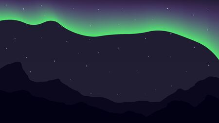 australis: Bright polar lights and mountains. Simple background