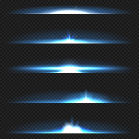 flares: Blue horizontal lens flares pack. Laser beams, horizontal light rays. Illustration