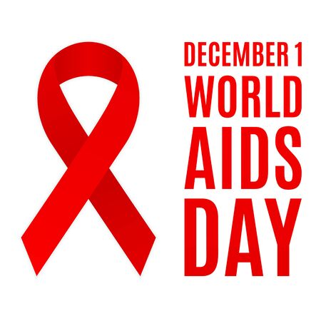 World AIDS day poster. Red ribbon.