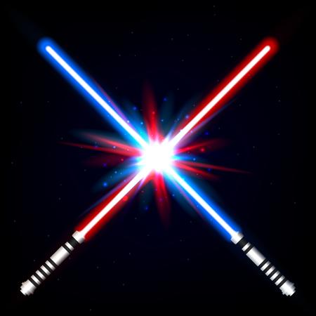 Crossed light swords on night sky background.