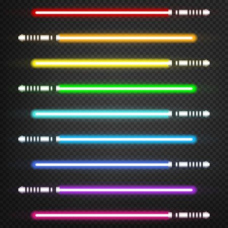 Nine different colorful bright light swords.