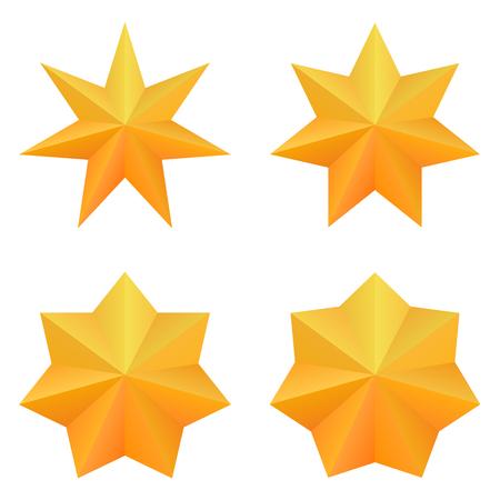 Set of four golden seven point stars.
