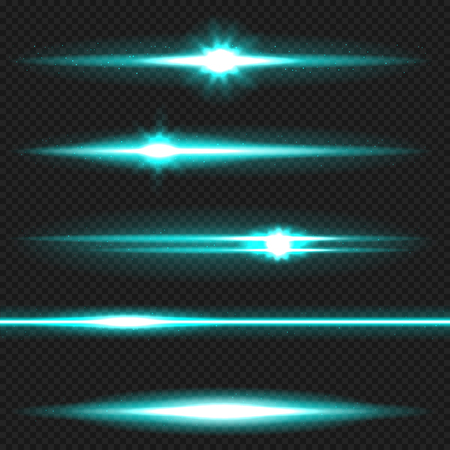 dazzling: Cyan horizontal lens flares pack. Laser beams, horizontal light rays. Vector, eps10