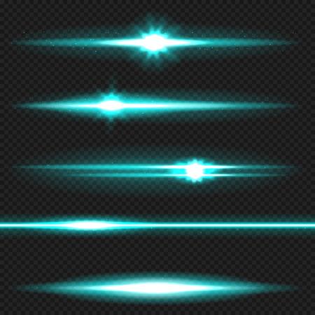 fading: Cyan horizontal lens flares pack. Laser beams, horizontal light rays. Vector, eps10