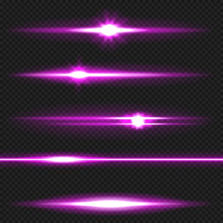 Purple horizontal lens flares pack. Laser beams, horizontal light rays. Vector, eps10