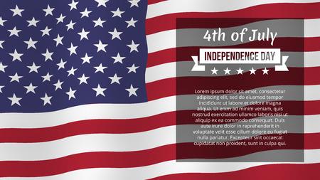 7 月 4 日の背景。独立記念日のグリーティング カード。ベクトル テンプレート、分離、eps10