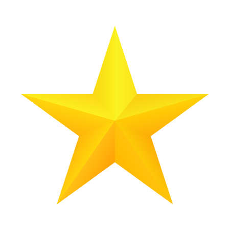 Realistic golden star icon. Ranking mark. Vector, isolated eps 10 Stock Photo