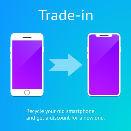 Concept d'échange de téléphone intelligent mobile. Vecteur, eps 10