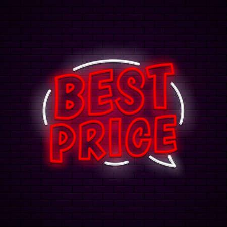 Best price neon banner Ilustração