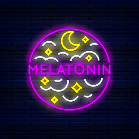 Melatonin colorful neon at brick wall. Month, stars and clouds. Element for presentations, flyers, leaflets, posters or postcards. Vector, isolated, eps 10. Stock Vector - 116843707