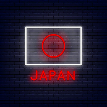 Neon japan flag at brick wall. Element for presentations, flyers, leaflets, posters or postcards. Vector, isolated, eps 10.