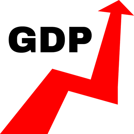 Gross domestic product. Economic growth concept illustration. GDP arrow graph. Vector, isolated, eps 10 Illustration