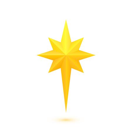 Star of Bethlehem. Golden octagram. Eight-angled star. Vector isolated