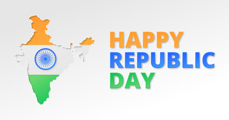 Republic day poster. Paper cut and craft style. Background template.
