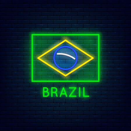 Neon Brazil flag 矢量图像