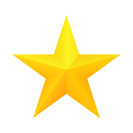 Realistic golden star icon.