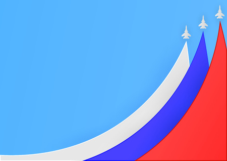 Paper cut and craft style background template. Three planes with traces. Russian national flag.