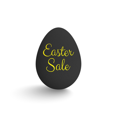 Easter sale. Black egg with golden text.