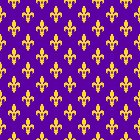 Purple bright seamless pattern. Fleur-de-list symbol of Mardi Gras or Fat Tuesday. 矢量图像