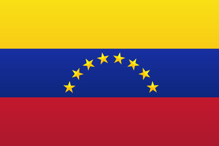 Bright flag of Venezuela with golden shiny stars. 矢量图像