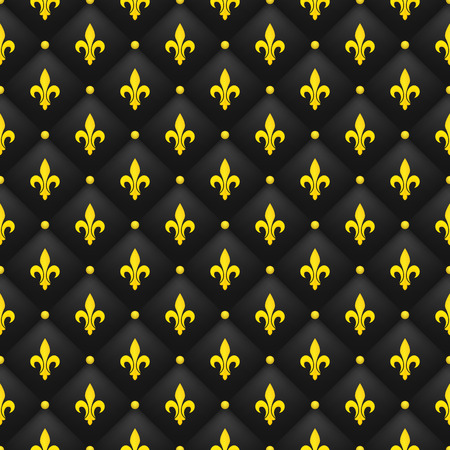 Seamless pattern with golden fleur-de-lis on a black quilted background. Luxury, wealth backdrop. Royal wallpaper.