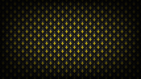 Black quilted background with golden fleur-de-lis symbol. Luxury, wealth backdrop. Royal wallpaper.
