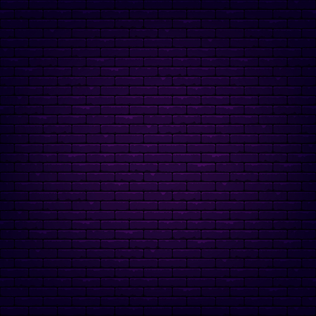 Brick wall background. Illuminated texture. Dark neon light. 矢量图像