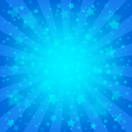 Bright blue rays background, lot of stars. Vivid wallpaper. Celebration backdrop template. Comics, pop art style.