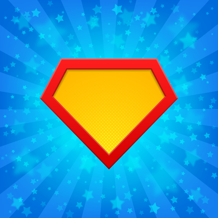 Superhero logo template at bright blue rays background with stars. Halftone dots, shadows.