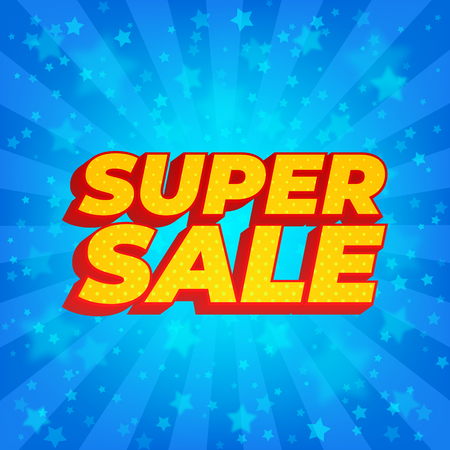 Super sale banner. Bright blue rays background with stars. Comic book style.