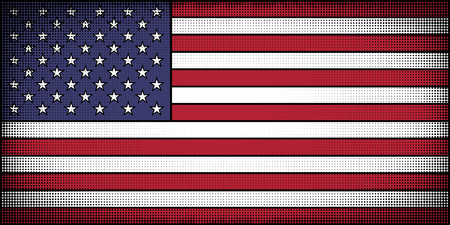 Flag of the United States in comic book cartoon style. Halftones, pop art.