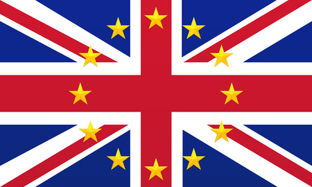 Bright flag of United Kingdom of Great Britain and Northern Ireland with European Union golden stars. Union Jack background. Royal Union Flag symbol. European Union symbol.