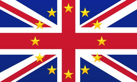 Bright flag of United Kingdom of Great Britain and Northern Ireland with European Union golden stars. Union Jack background. Royal Union Flag symbol. European Union symbol.