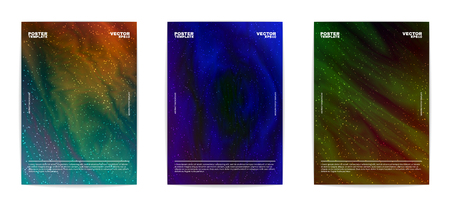 Set of modern abstract posters. Covers collection. Bright outer space full of stars. Vivid liquid backgrounds. Fluid colors. Vector, isolated, eps 10.