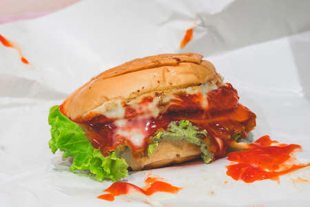 Hamburger and red sauce, street food that is easy to buy Stock Photo
