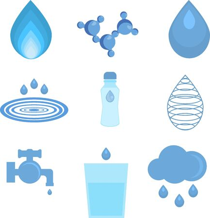 water molecule: Water related icons set. Set of abstract water icons and water faucet, glass water, water drop, water molecule. Abstract shape aqua environment. Water liquid nature drink design ecology bottle.