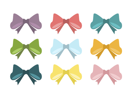 decorate element: Set of vintage bows. illustration bows. Different colors bows holiday celebration element. Decorate single accessory romance bows. Happy birthday present decoration ribbon decor.