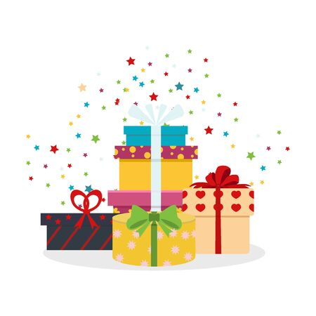 holiday shopping: set of different gift boxes. Flat gift box decoration design. Present box, holiday surprise birthday gifts and gifts paper package shopping, color greeting box anniversary party symbol.