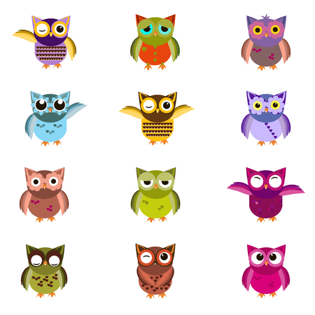 Cute owl characters showing different species include screech owl, long-eared owl, snowy owl, great horned owl, barn owl and great grey owl. Owl icons illustration. Cartoon owl design. Stock Illustratie