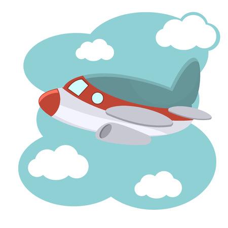 transportation cartoon: Cartoon plane in blue sky illustration.. Illustration of cartoon plane in blue sky. Fly air transportation cartoon plane and aviation drawing toy wing cute aeroplane.